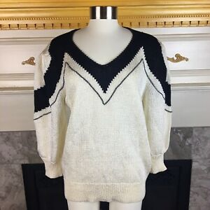 L-039-ARC-EN-CIEL-Womens-L-Ivory-Black-Retro-Rhinestone-Embellished-Knit-Sweater