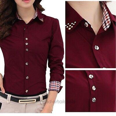 2015 OL Shirt  Women Long Sleeve Turn-down Collar Button Blouse Tops 2 Colors