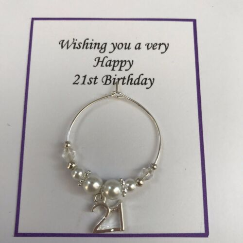 WHITE /& SILVER WINE CLASS CHARM 25th 30th 40th 60th 65th 70th Birthday Gift Bag