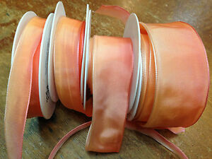 Vintage Ribbon Rayon Acetate wire Ombre Peachy Peach 1yd Made in France