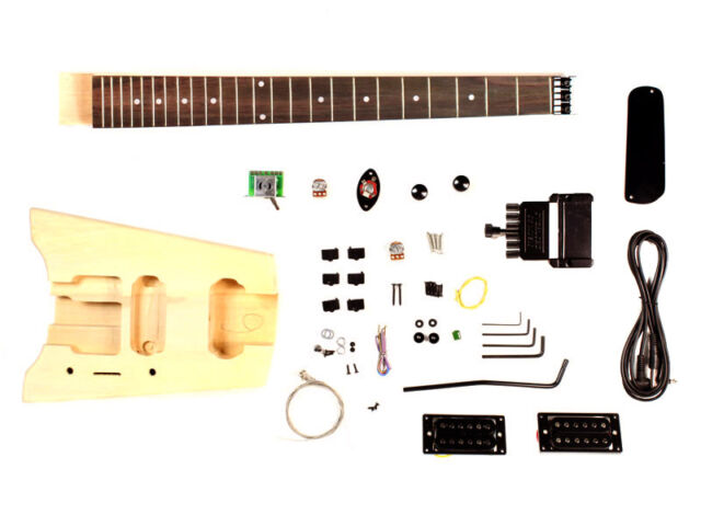 Unfinished Headless Travelling Electric Guitar DIY Kit Project double lock New