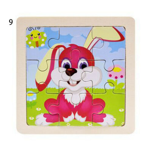 Small Size 3D Puzzle Jigsaw Animal//Traffic Puzzles Wooden Cartoon Natural Wood