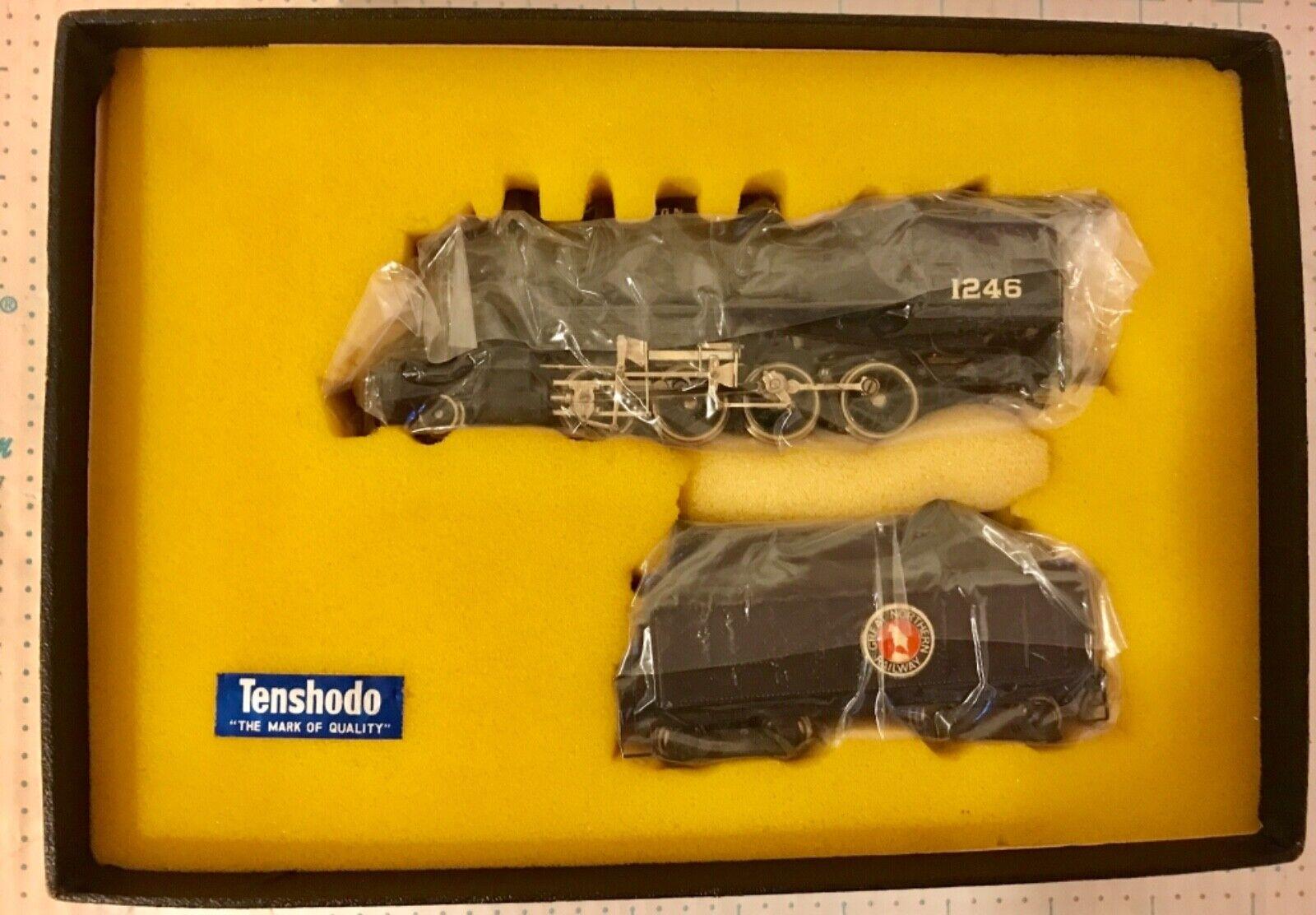 Tenshodo Escala Ho Locomotora Latón Great Northern 2-8-0 & Tender Completo Nuevo Y En Caja