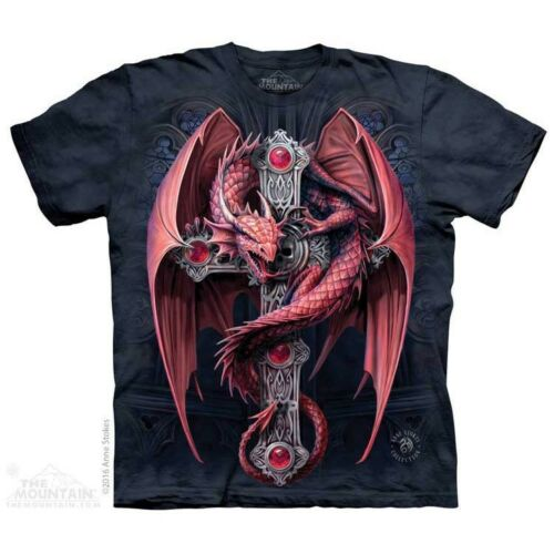 Gothic Guardian T-Shirt by The Mountain Dark Fantasy Red Dragon Sizes S-5X NEW