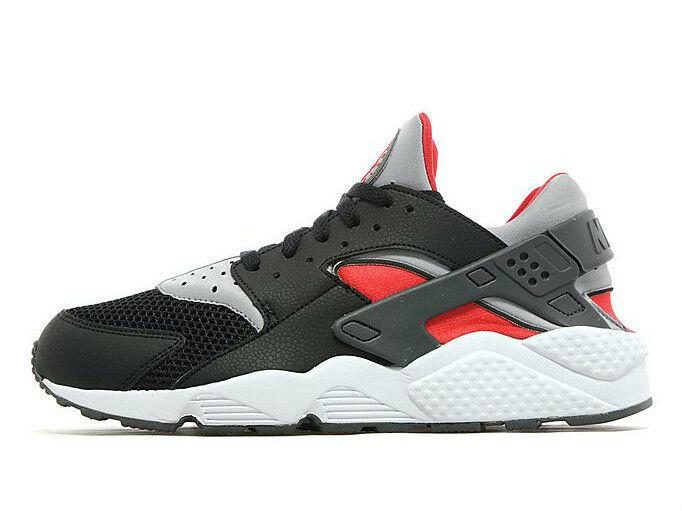 Nike Air Huarache Black  Red Cool Grey Men's Trainers All Sizes (PTI)