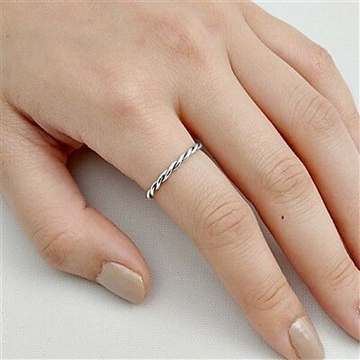 .925 Sterling Silver ring size 4 Kids Infinity Midi Ladies Thumb Knuckle New p70