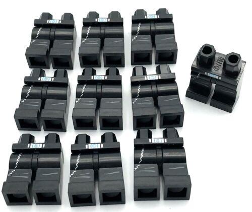Lego 10 New Minifigure Black Hips Legs Pants Belt Buckle Silver Chain on Pocket