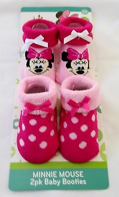Disney Baby Mickey Minnie Mouse Slipper and Sock Set Red Pink 0-18 Months NEW!