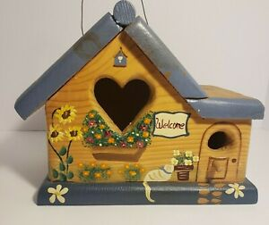 Wooden Birdhouse  Hand Painted Made In Mexico Artist Signed