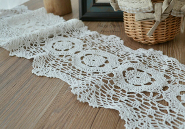 48 Ecru Hand Crochet Lace Trim Cotton 8 Wide French Country