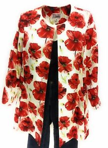 3-Sisters-Jacket-Med-1782-3S715-Poppy-Women-039-s-Long-Tunic-Duster-Coat-Made-in-USA