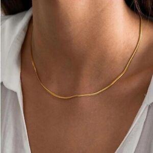 Halskette-Damen-Halsketten-Gold-Schlangen-Link-Choker-40-cm-Kette-Edelstahl