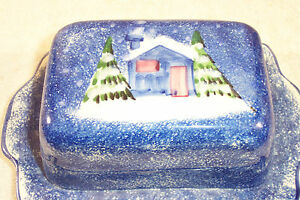 Marketplace-Ceramic-Blue-Winter-Scene-Covered-Cheese-Butter-Pat-Serving-Dish