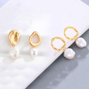 Ein-Paar-Frauen-Ohrringe-Natural-Vintage-Freshwater-Pearl-Fine-Jewelry-fuer