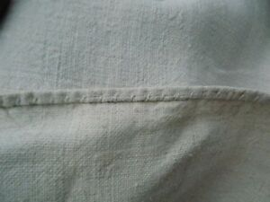 Antiques Antique Homespun White/light Beige Linen Fabric 1,9x0,6m 19thc Great Condition