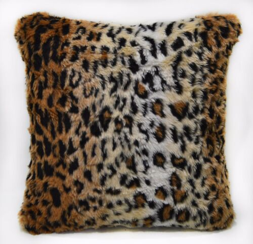 Fi705a Light Tan Leopard Long Faux Fur Cushion Cover//Pillow Case*Custom Size*