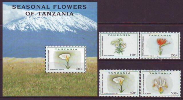 TANZANIA 1999 SEASONAL FLOWERS   SET 4 + MINISHEET  MINT NEVERHINGED