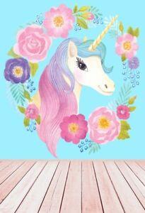 Details About Unicorn Flower Backdrop 5x7ft Newborn Baby Photography Background Vinyl Prop Diy
