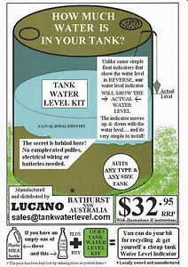 LUCANO Rain Water Tank Water Level Indicator Gauge AUSSIE MADE!
