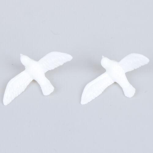 2Pcs 1:12 Dollhouse mini resin white dove simulation animal model toys EP