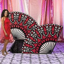 RED MASQUERADE LACE FAN STANDEES * mardi gras party decorations