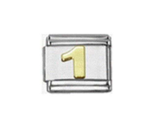 9mm Italian Charm Gold Numbers Number 1 One Fits Classic Size Bracelet