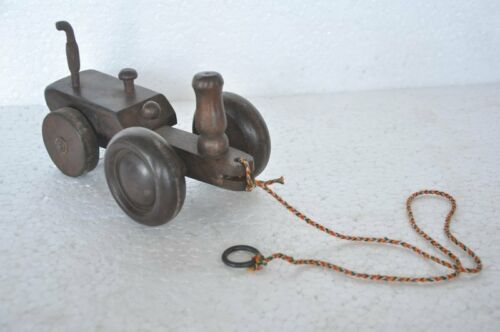 Old Wooden Handcrafted Unique Shape Pull Along Tractor ToyModel , Collectible