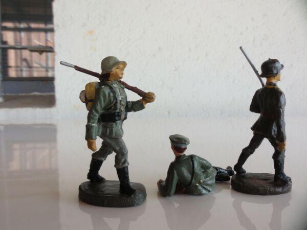 3 Soldaten Militär Elastolin 1940 Modischer (In) Stil;