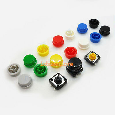Round Top 7-Colors Tactile Button Switch Cap Cover For 12×12×7.3mm Tact Switch