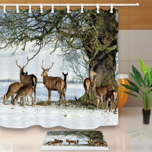 Wild animal red deer Shower Curtain Home Bathroom Fabric /& 12hooks 71*71inches