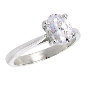 Sterling-Silver-Solitaire-Engagement-Ring-8mm-x-6mm-1-25-ct-Oval-Cut-CZ-Stone