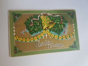 Greeting-Postcard-Vintage-Christmas-Yellow-Flower