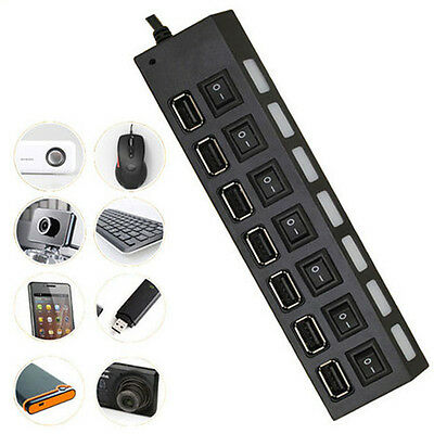 7 Port High Speed USB 2.0 Hub  Adapter ON/OFF Switchs For PC Laptop 1pcs
