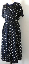 Claire Anne Willemin Full Skirt Suit Size XS  Navy Blue White Dot's