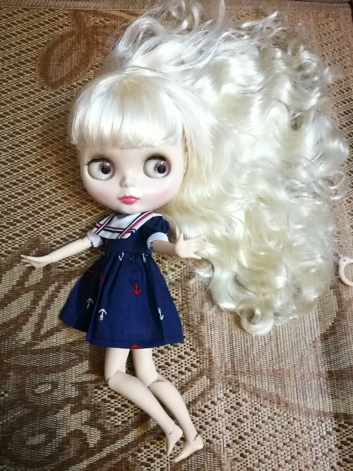 12  Neo Blythe Doll Beige Cabello con Bang de fábrica cuerpo articulado Desnuda Muñeca