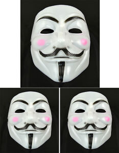 V for Vendetta Anonymous Costume Mask White Pink Cheek Fawkes Face Halloween