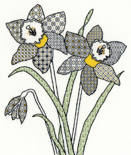 Bothy Threads ~ Counted Cross Stitch Kit ~ Blackwork ~ Daffodils ~ XBW7