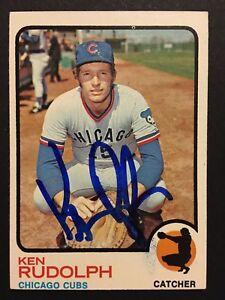 Ken Rudolph Cubs Signed 1973 Topps Baseball Card #414 Auto Autograph