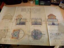 OLD ANTIQUE 1930s art deco architects drawing design plans moreton marsh pumping
