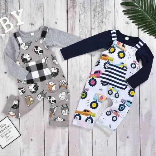 Toddler Kids Baby Girls Boys Cartoon Plaid Jumpsuit+Solid T-shirts Tops Outfits