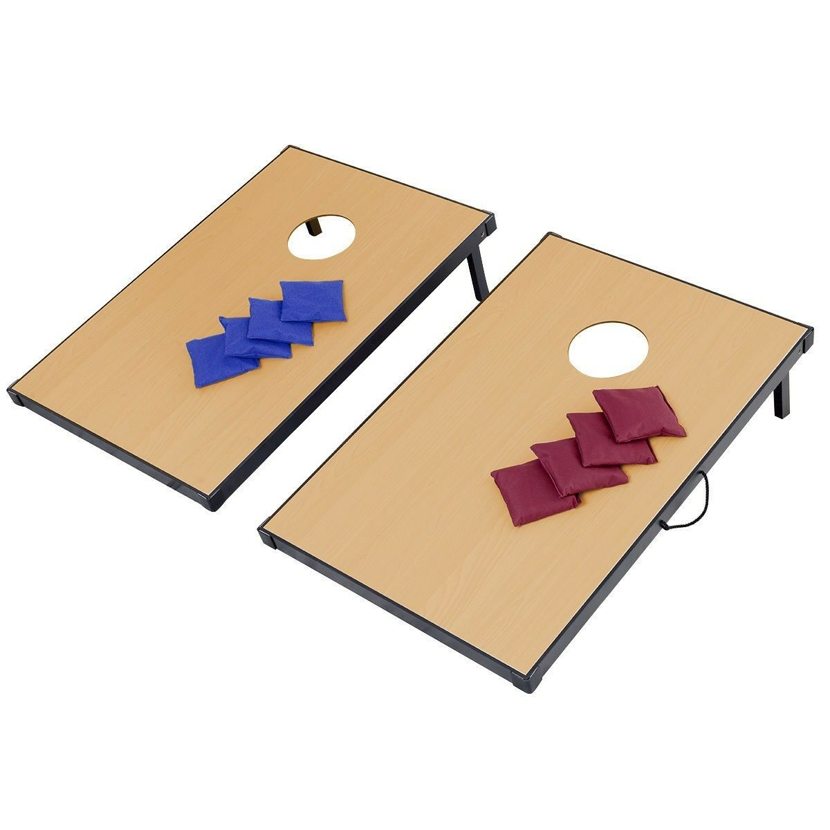 47  New Foldable Wood Bean Bag Toss Cornhole Game Set of 2 Boards and 8 Beanbags