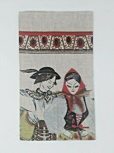 Vintage-Polish-Folk-Dancers-Linen-Towel-Wall-Hanging-Hand-Printed-New-Old-Stock