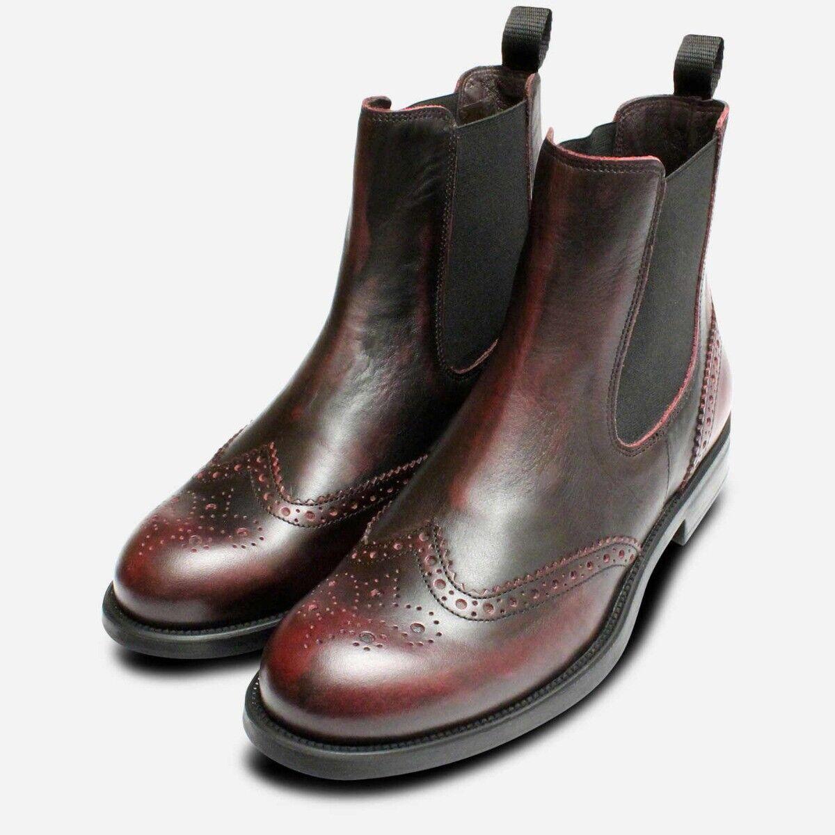 Diseñador Burdeos Mujer Italiano Bota Chelsea Zapatos Oxford