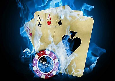 Ben Informato Sticker Autocollant Poster A4 Poker Holdem No Limit Carre D'as Casino.