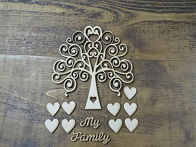 Wedding INCLUDES 30mm hearts Wooden MDF Tree Shape Family Guestbook 4mm