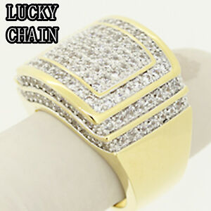 MEN-S-14K-GOLD-FINISH-BLING-OUT-LAB-DIAMOND-RING-23g-A27