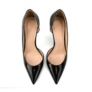 Large-High-Heels-Pumps-Lady-039-s-Patent-leather-Shoes-Pointed-Toe-OLPlue-Size