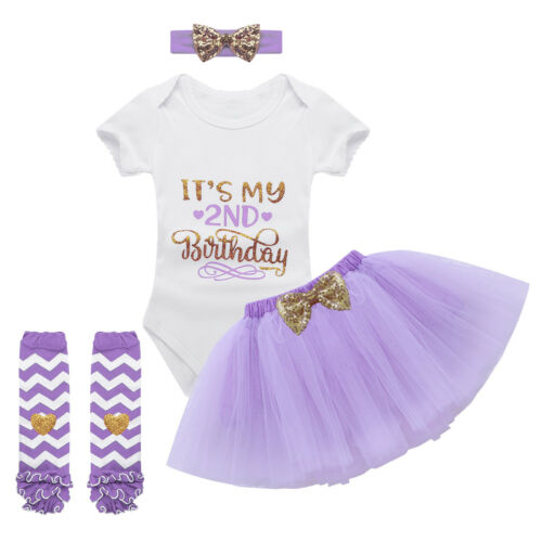 Infant Baby Girls It/'s My 1st//2nd Birthday Outfits Party Tutu Romper Costume Set