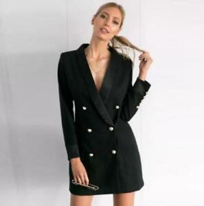 5f0f7c55f35f Details about New Womens Black Double Breasted Slim Fit Blazer Dress Sexy  Mini Skirt Coat 2019