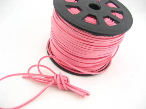 6 Metros Rosa el cordón de cuero de gamuza suave encaje de terciopelo Hilo Diy pulsera conclusiones